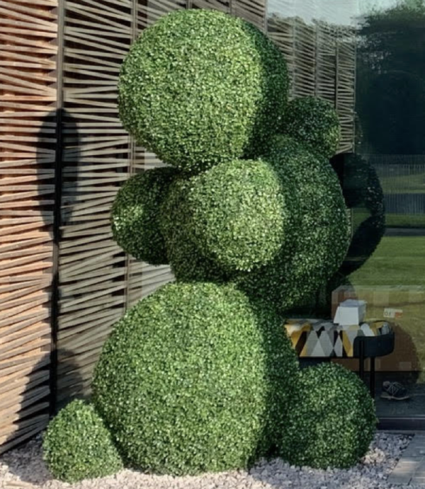 connected globes in uv outdoor boxwood topiary