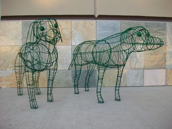 Custom Pair of Dog Topiaries in Wire Frames Before Mossing