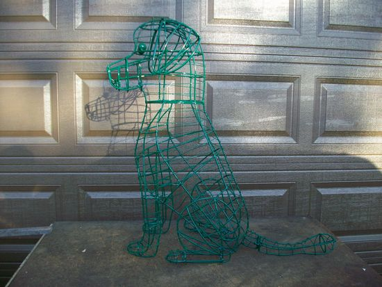Portuguese water dog topiary in wire before adding moss to it.