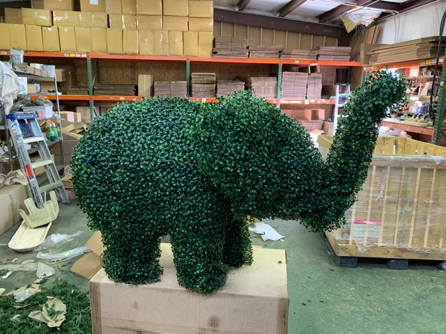 elephant topiary covered with aux boxwood foliage side view