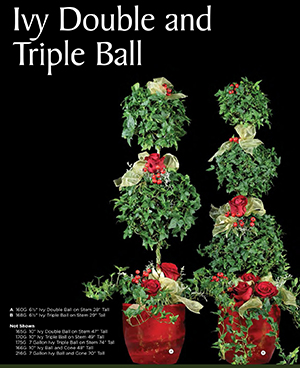live ivy double and triple ball christmas topiary - Christmas Topiary