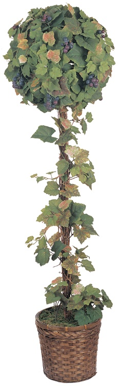 Artificial Topiary Trees, Ball Topiary, 4 feet   Early Autumn Grape Leaf Topiary in 9 inch Basket
