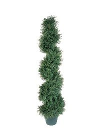 Artificial Topiary Trees, Spiral Topiary, 4 feet   Potted Pond Cypress Slim Spiral Tree