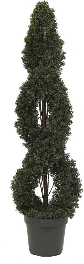 Artificial Topiary Trees, Spiral Topiary, 4 feet   Double Cedar Spiral Tree