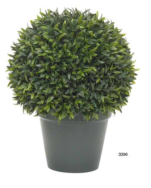 Artificial Topiary Trees, Ball Topiary, 10 inch Podocarpos Topiary