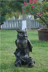 Owl Perched On Tree Trunk Wood Finish L, 10 and 5 inch x 9 and 25 inch  x 18 and 25 inch