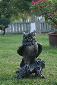 Owl perched On Tree Trunk Wood Finish R, 11 and 75 inch x 8 and 5 inch x 18 and 5 inch