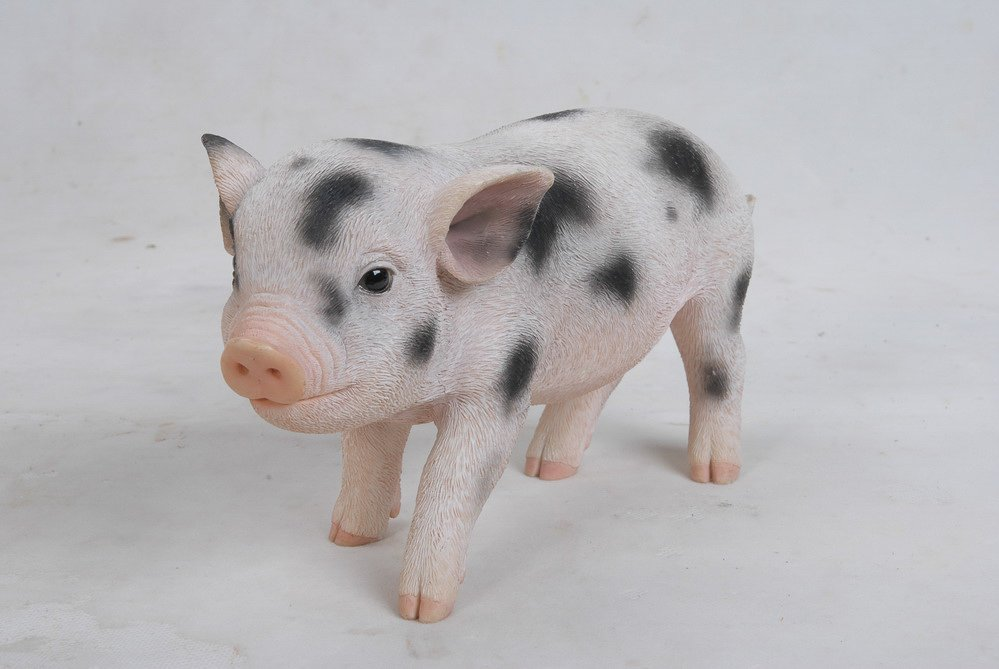 Pig Standing baby pig W and Black Spots, 9 inch   x 4 inch   x 5 inch
