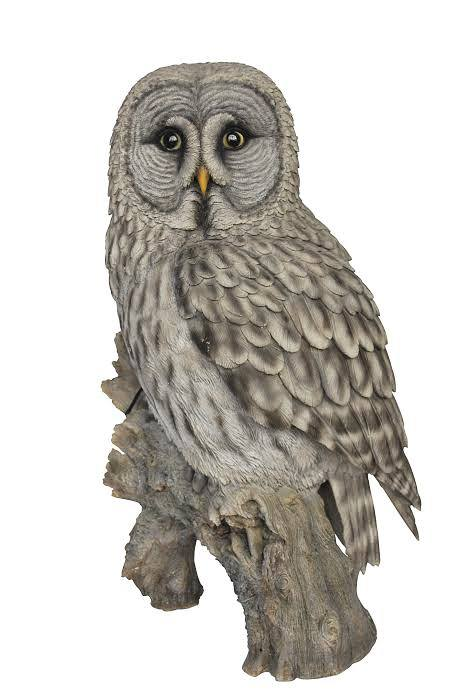 Grey Owl On Stump, 26 Inch x 12 Inch x 20 and 5 Inch