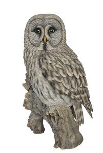 Grey Owl On Stump, 26 Inch x 12 Inch x 20.5 Inch