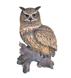 Eagle Owl On Stump, 18 Inch x 13 Inch x 23 and 5 Inch