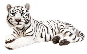 Tiger Lying Down White, 28 Inch x 16.5 Inch x 13 Inch