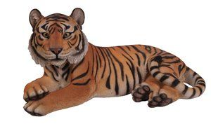 Tiger Laying Down Yellow, 28 Inch x 16.5 Inch x 13 Inch