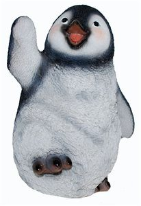 Penguin Waving And Lifting Foot Large, 9 Inch x 7 Inch x 11 Inch