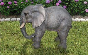 Elephant Standing With Trunk Down, 22 Inch x 11.5 Inch x 18.5 Inch