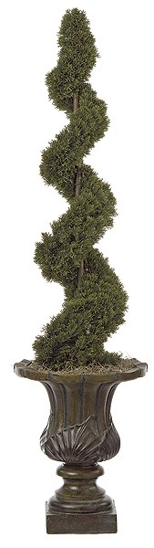 Artificial Topiary Trees, Outdoor Topiary, 4 feet   Plastic Cedar Spiral Topiary