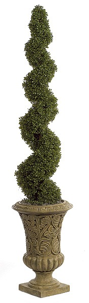 5 Foot Spiral Boxwood Topiary | Artificial Topiary