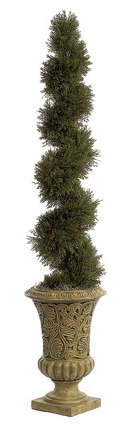 Artificial Topiary Trees, Outdoor Topiary, 5 feet   Spiral Cypress Topiary