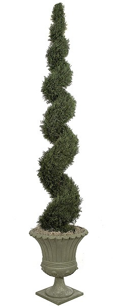 Artificial Topiary Trees, Outdoor Topiary, 10 Foot Cypress Spiral Topiary