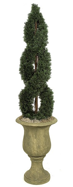 Artificial Topiary Trees, Outdoor Topiary, 4 feet   Double Spiral Cypress Topiary