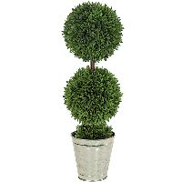Artificial Topiary Trees, Outdoor Topiary, 24 inch Potted Podocarpus Ball Topiary
