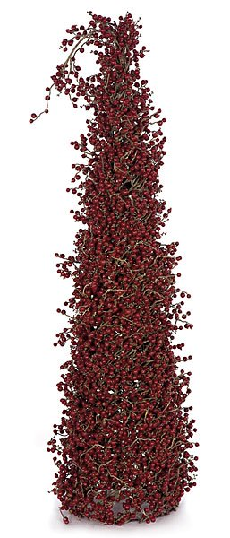 Artificial Topiary Trees, Cone Topiary, 36 inch Red Berry and Twig Cone Topiary on Wire Frame