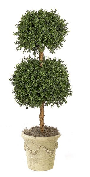 Artificial Topiary Trees, Outdoor Topiary, 4 feet   Double Boxwood Ball Topiary