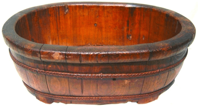 Antique Rustic Wooden Oval Container