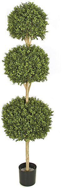 6 and 5 Foot Triple Boxwood Ball Topiary Limited UV Protection