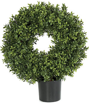 20 Inch Plastic Circle Boxwood Topiary Limited UV Protection