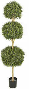 Artificial Topiary Trees, 	Outdoor Topiary, 6.5 feet Triple Boxwood Ball Topiary and Limited UV Protection