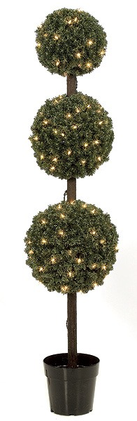 Artificial Topiary Trees, Outdoor Topiary, 5 feet   Triple Ball Pine Topiary with Clear LED Lights
