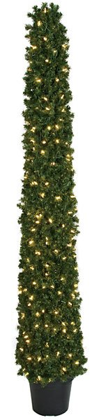 Artificial Topiary Trees, Outdoor Topiary, 6 feet   Square Cone Topiary with Clear LED Lights