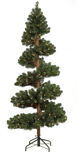 Artificial Topiary Trees, Outdoor Topiary, 7 feet   Spiral Spruce Topiary with Lights