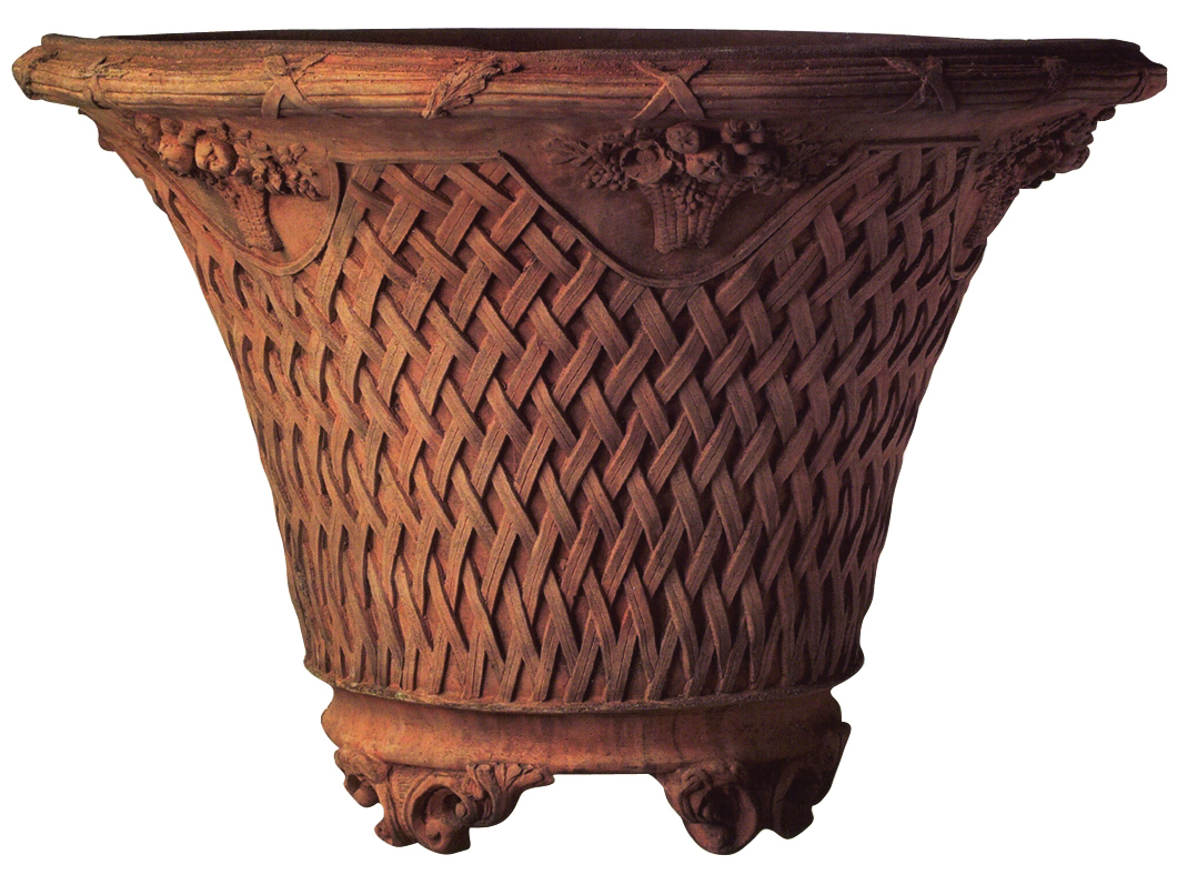 OST06TC, Shop for Large Basket Weave Terracotta Urn | TopiaryTree.NET