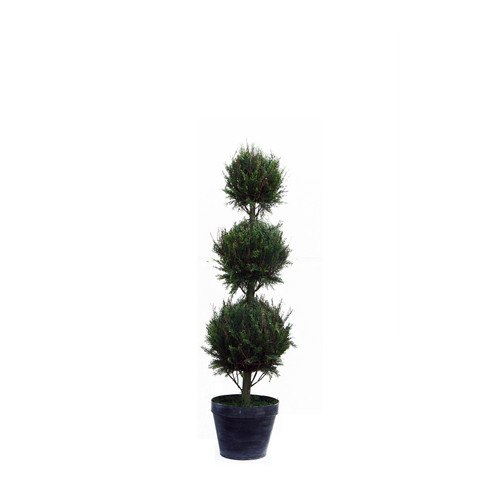 Artificial Topiary Trees, Ball Topiary, P1213TB 4 Feet Triple Ball Italian Cypress in Tin Pot
