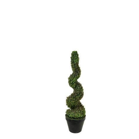 Artificial Topiary Trees, Spiral Topiary, P1218S 3 Feet Spiral Baby Tear in Tin Pot