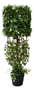 Artificial Topiary Trees, Hedge Topiary, P1230CY 45 3 and 5  Feet Cylinder Shape with Iron Curly Ivy in Tin Pot