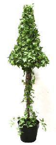 Artificial Topiary Trees, Spiral Topiary, P1231U 66  and  5 and 5 Feet Umbrella Shape Curly Ivy in Tin Pot