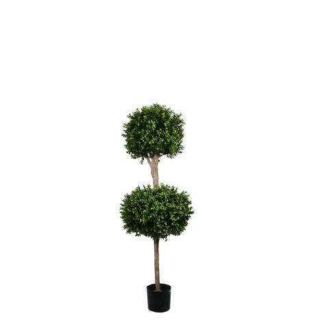 Artificial Topiary Trees, Ball Topiary, PP4036DB 5  Feet PTD Double Ball Boxwood Topiary