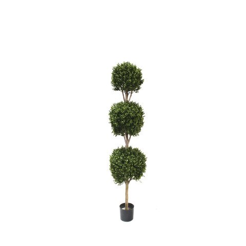 Artificial Topiary Trees, Ball Topiary, PP4036TB 6  Feet PTD Triple Ball Boxwood Topiary
