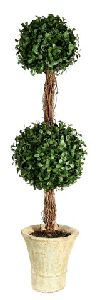 Artificial Topiary Trees, Ball Topiary, PTP1229DB 3.5  Feet Double Ball Shape Boxwood in Paper Mache Pot