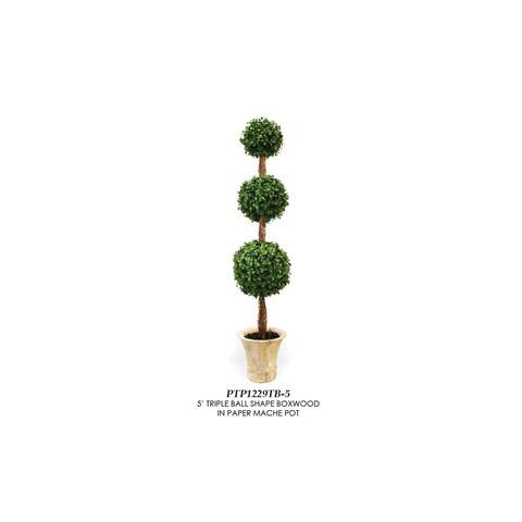 Artificial Topiary Trees, Ball Topiary, PTP1229TB 5  Feet Triple Ball Shape Boxwood in Paper Mache Pot