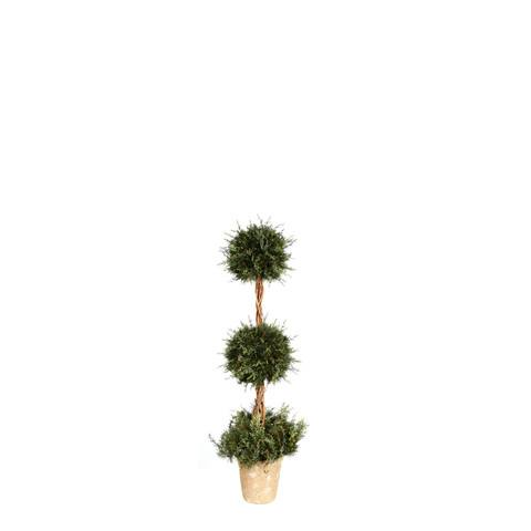 Artificial Topiary Trees, Ball Topiary, PTP5304 3  Feet Mixed Pine Double Ball Topiary in Clay Pot