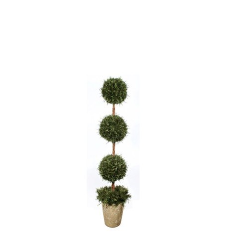 Artificial Topiary Trees, Spiral Topiary, PTP5304 5  Feet Mixed Pine Triple Ball Topiary in Clay Pot