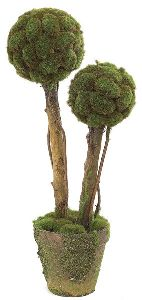Artificial Topiary Trees, Ball Topiary, 21 inch Double Ball Moss Topiary