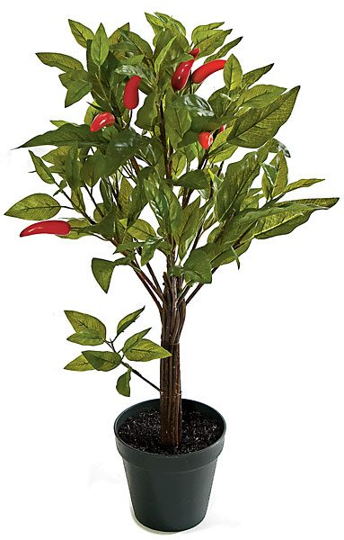 Artificial Topiary Trees, Flower Topiary, 24 inch Chili Leaf Topiary