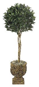 Artificial Topiary Trees, Ball Topiary, 4.5 feet   Bay Leaf Single Ball Tree