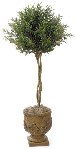 Artificial Topiary Trees, Ball Topiary, 4.5 feet   Olive Ball Tree
