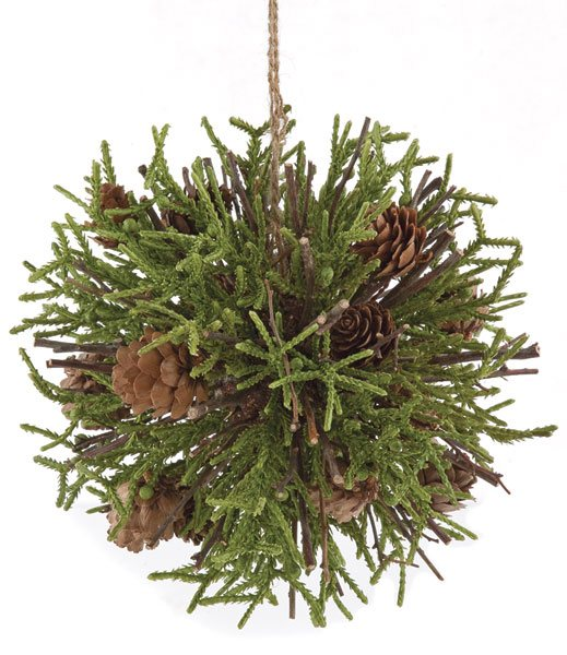 6 and 5 Inch Pine Cone Ball Green and Natural